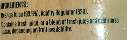 Orange Juice Pulpy - Ingredients - en