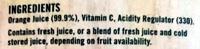 100% Australian Grown Hand Picked Orange Juice - Ingredients