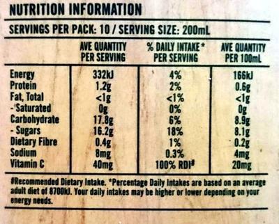 100% Australian Grown Hand Picked Orange Juice - Nutrition facts