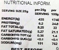 Mersey Valley Classic - Sharp & Crumbly - Nutrition facts - en