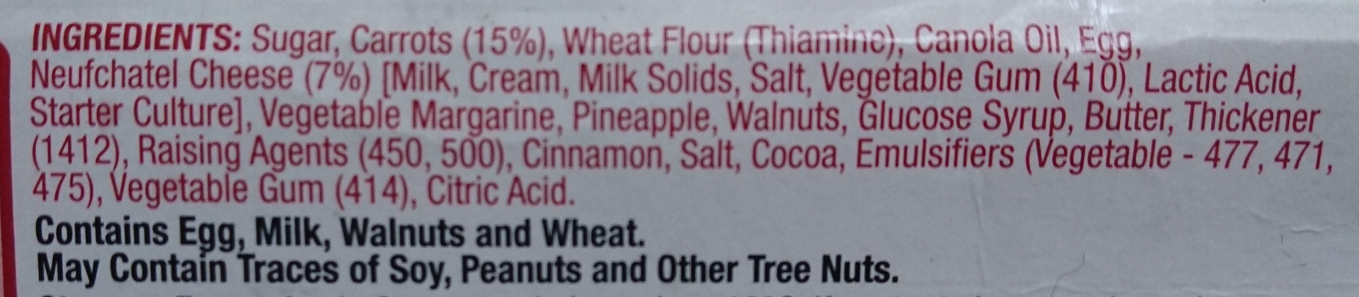 Carrot Cake - Ingredients - en