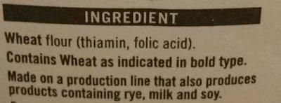 whitevbackers flour - Ingrédients