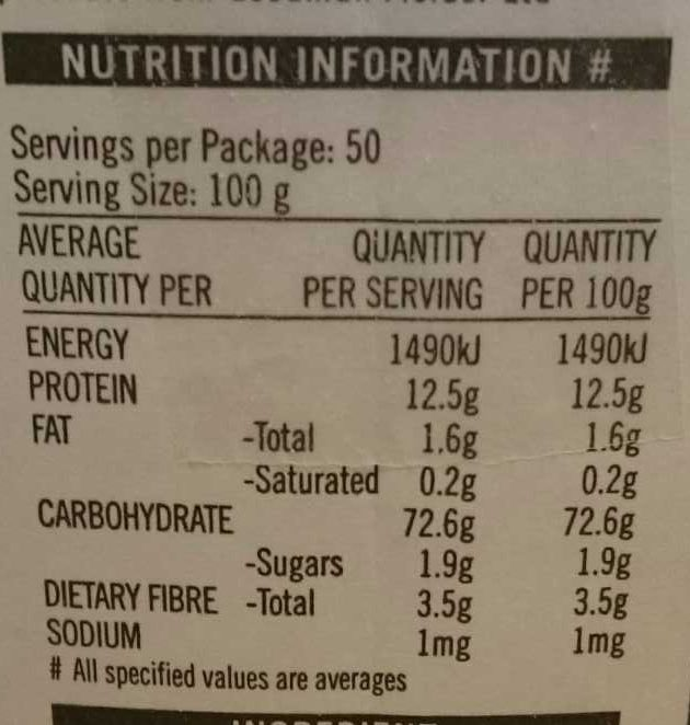 whitevbackers flour - Nutrition facts
