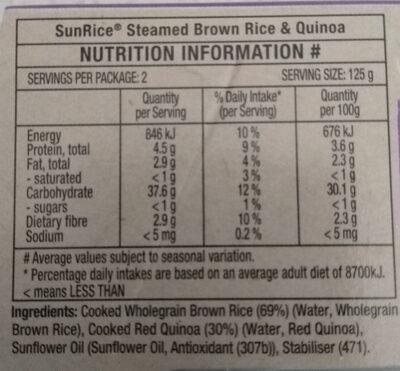Sun Rice - Brown Rice & Quinoa - Ingredients