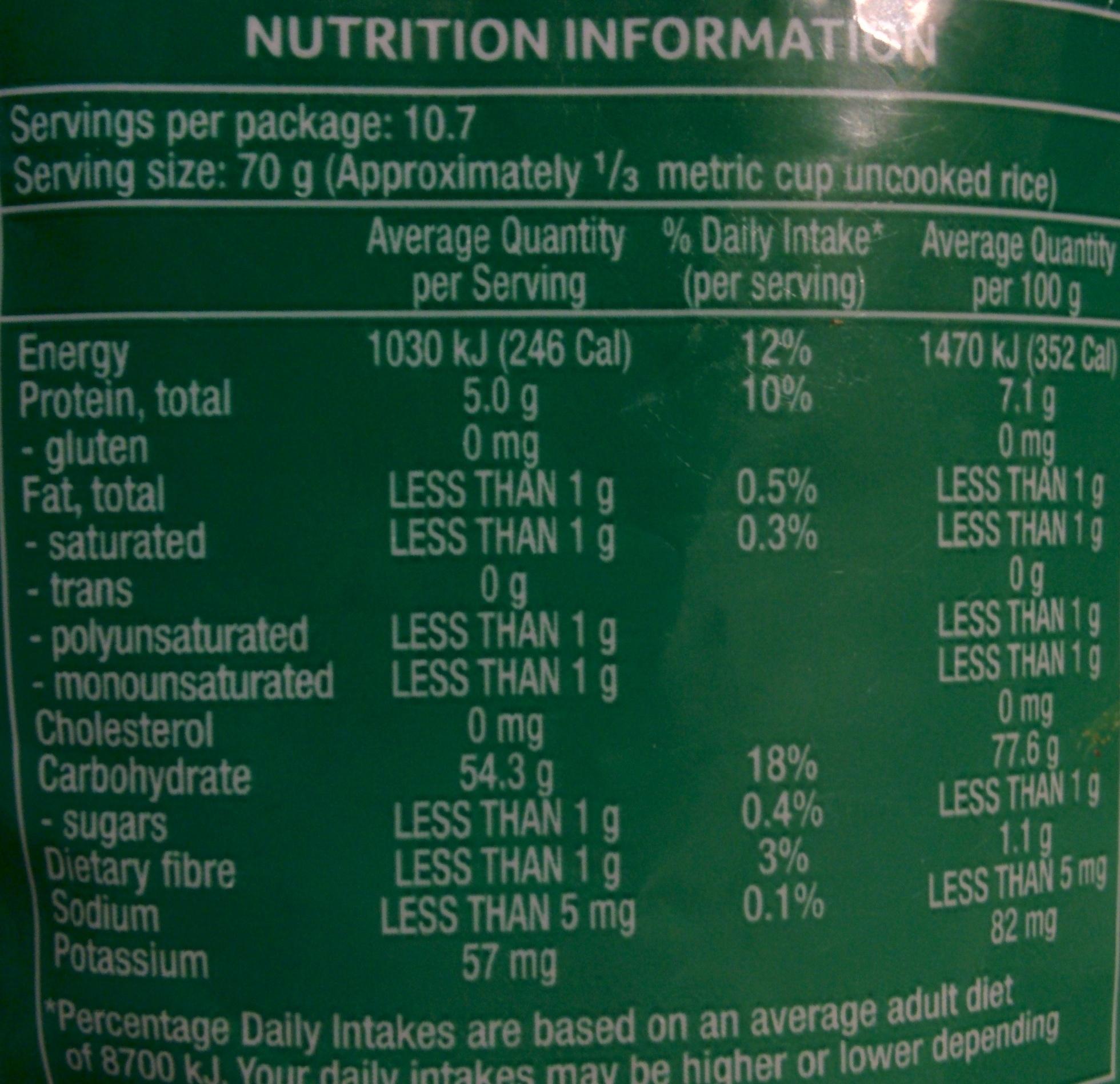 Arborio Risotto Rice - Nutrition facts - en