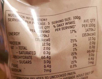 High Fibre Large Spirals - Nutrition facts - en