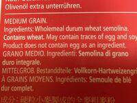 Couscous wholemeal - Ingredients - en