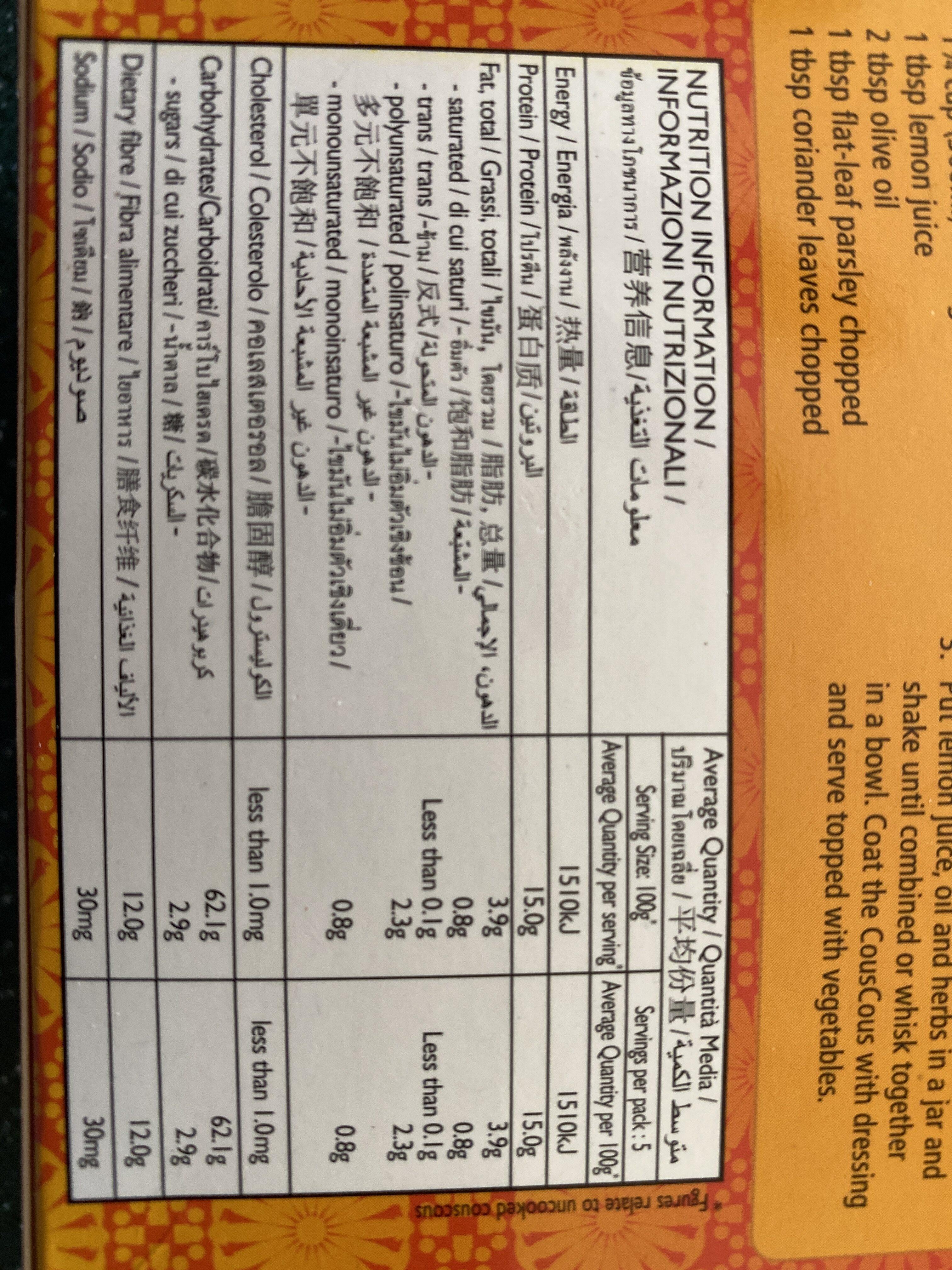 Couscous wholemeal - Nutrition facts - en