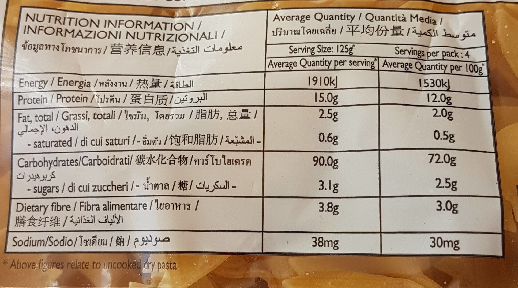 Bowties #23 - Nutrition facts - fr