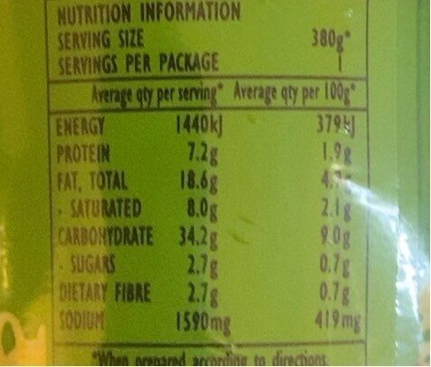 Oriental chicken noodles - Nutrition facts - en