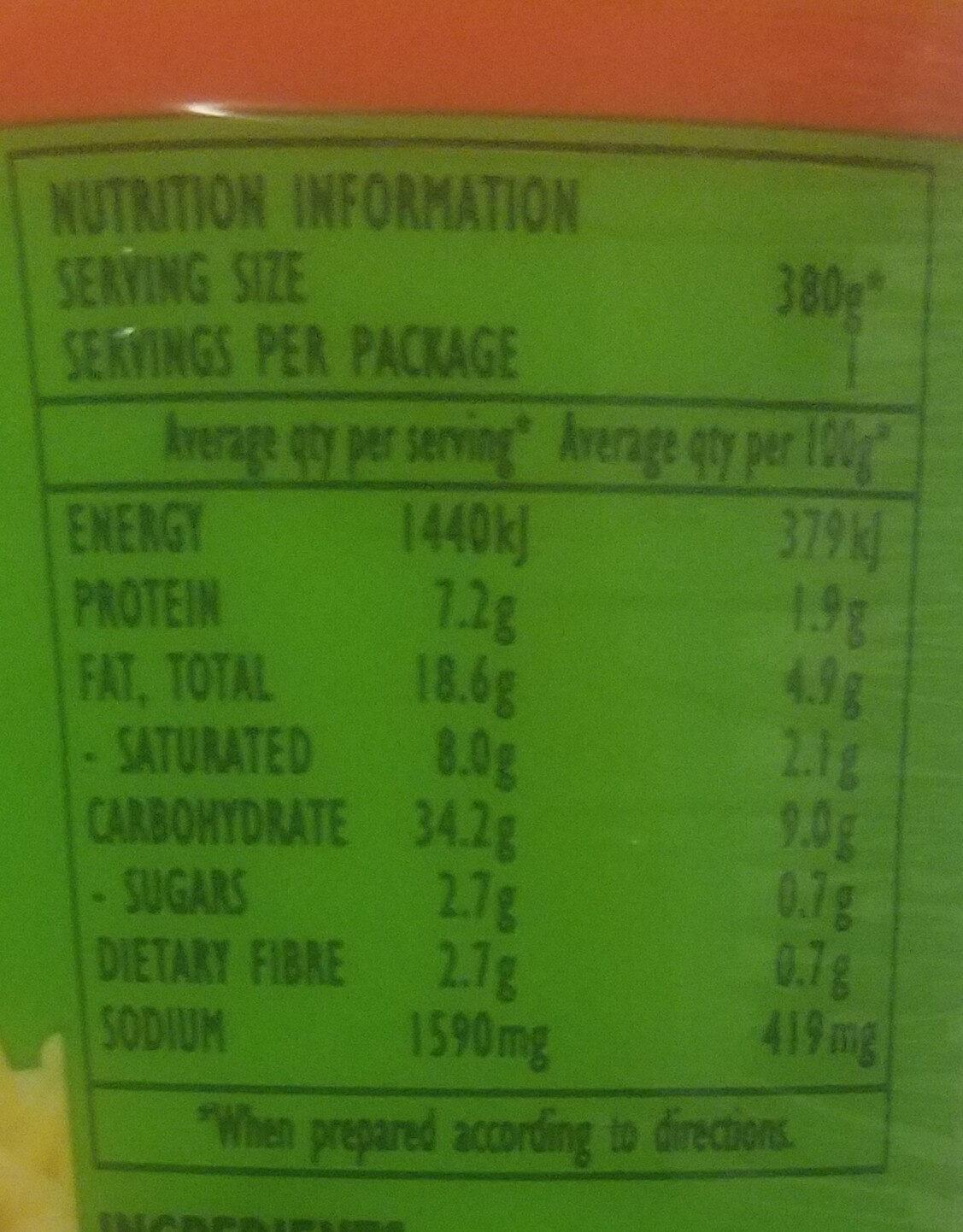 Noodles with Orientel Chicken Flavour - Nutrition facts - en