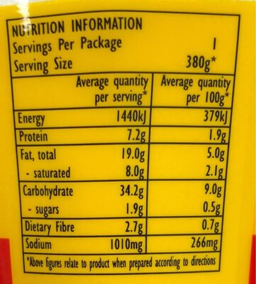 Noodles Cup Beef - Nutrition facts - en