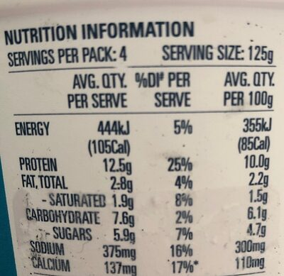 Cottage cheese - Nutrition facts - fr