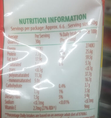 Value Pack Premium Pine Nuts - Nutrition facts
