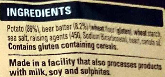 Beer Batter Chips - Steak Cut - Ingredients - en