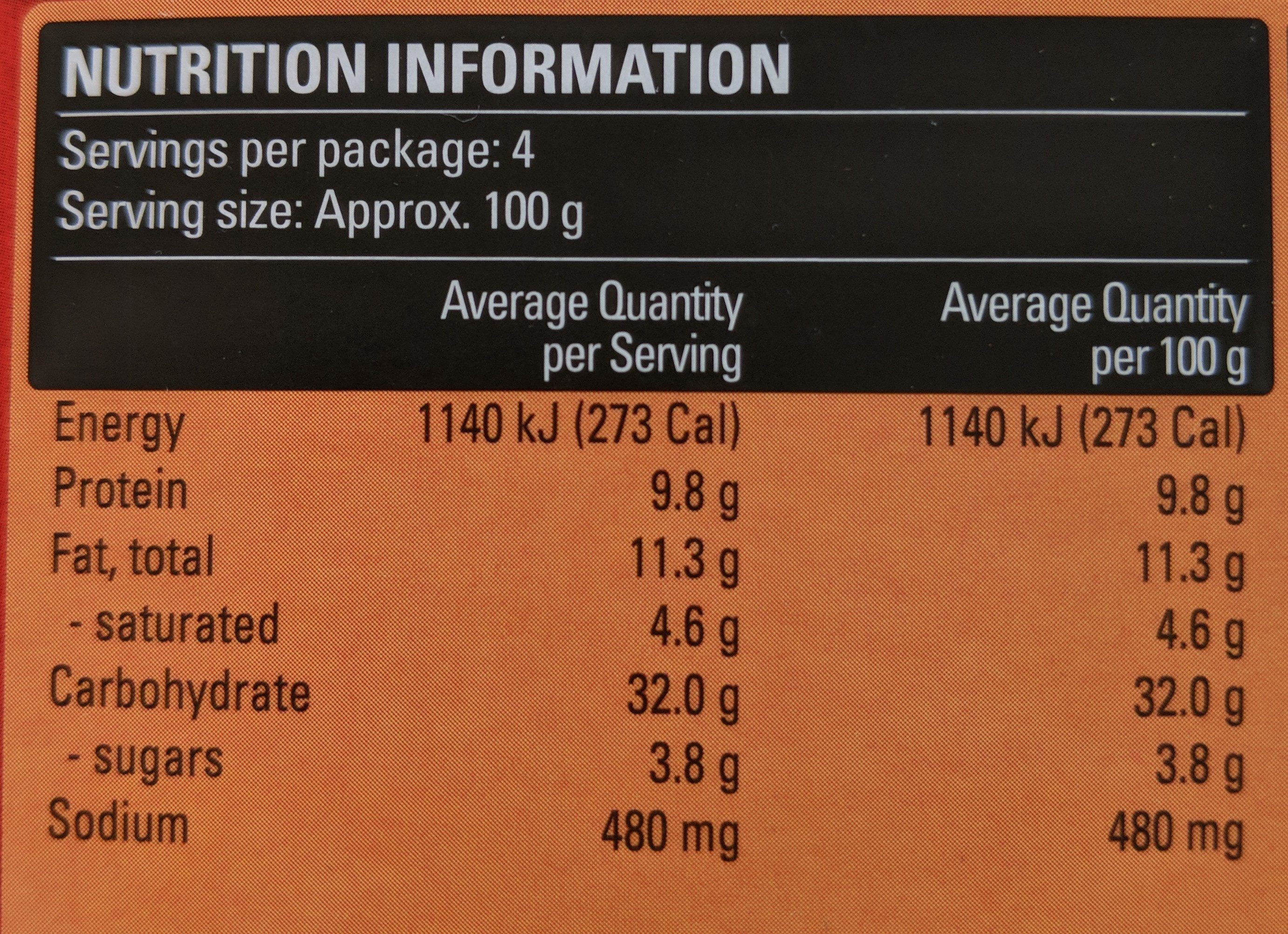 Cheese & Bacon Pizza Pockets - Nutrition facts - en