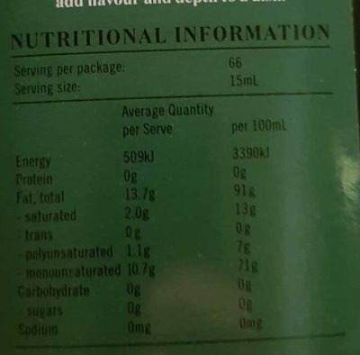 Moro Extra virgin olive oil - Nutrition facts