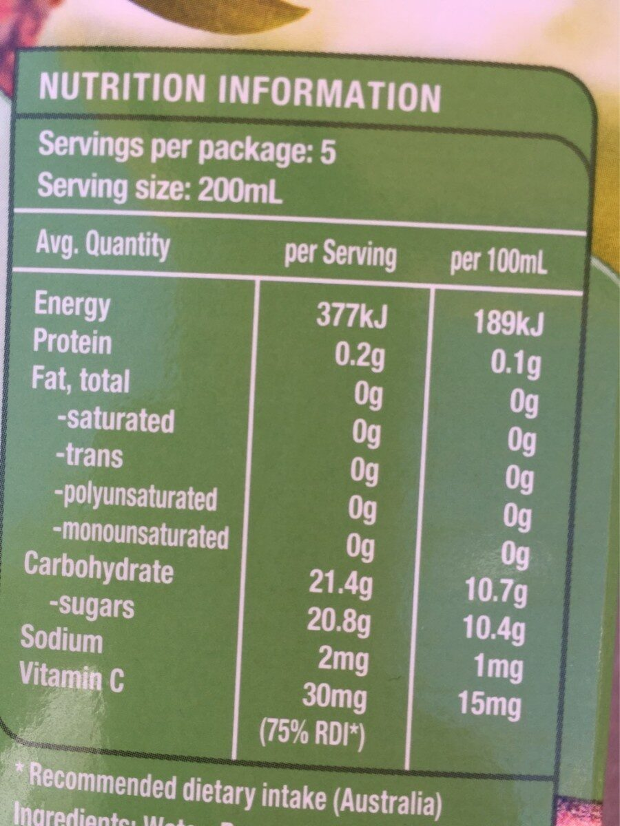 Tropical punch - Nutrition facts - fr