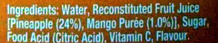Pine Mango Fruit Drink With Vitamin C - Ingredients - en