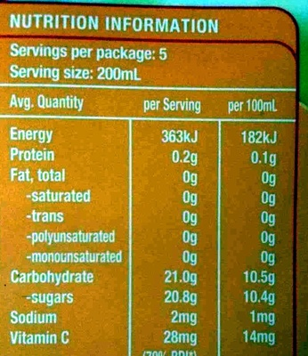 Pine Mango Fruit Drink With Vitamin C - Nutrition facts - en