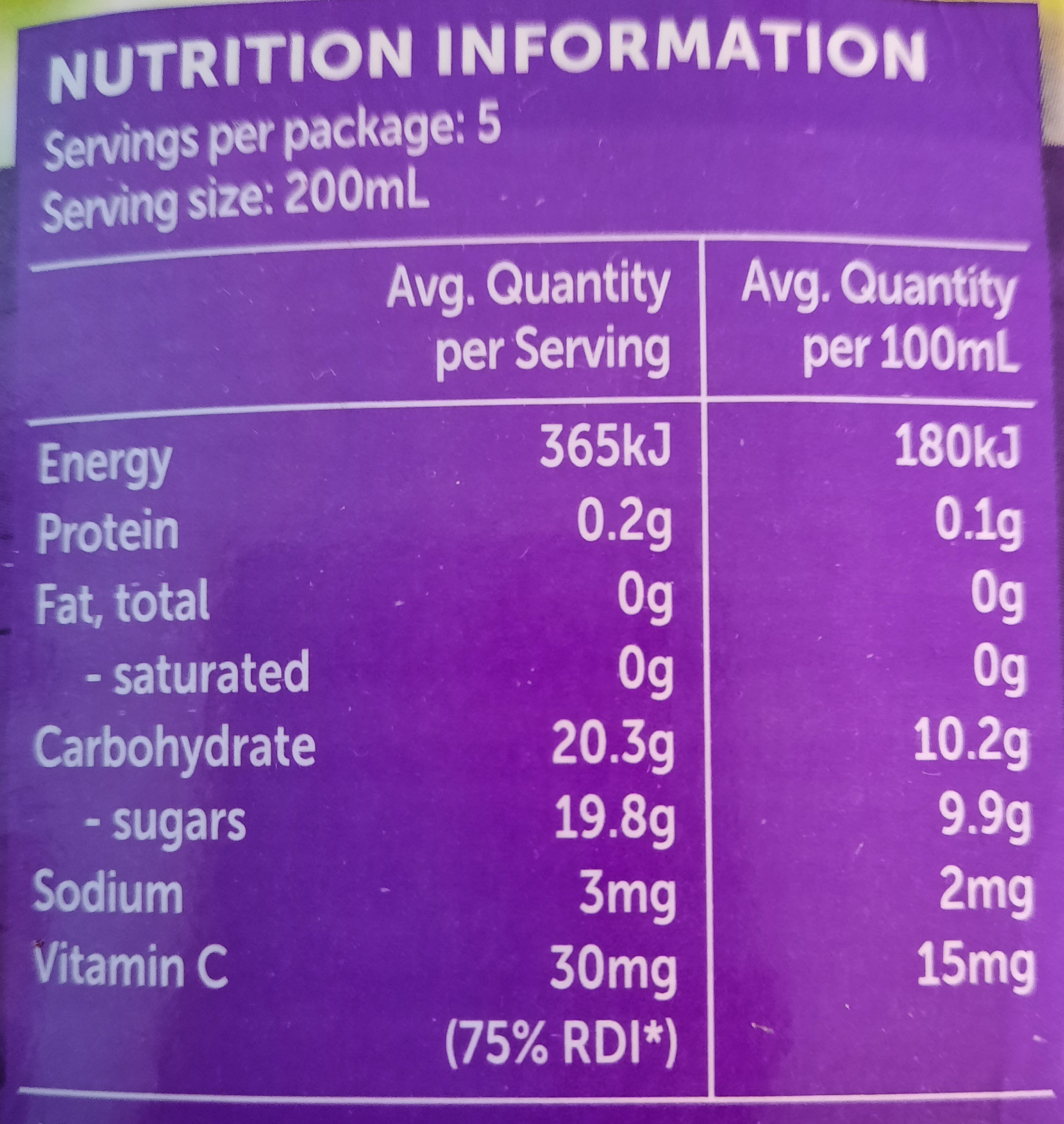 Golden Circle Golden Pash Fruit Drink - Nutrition facts - fr