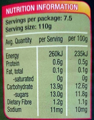 Fruit Salad Chunky in Juice - Nutrition facts
