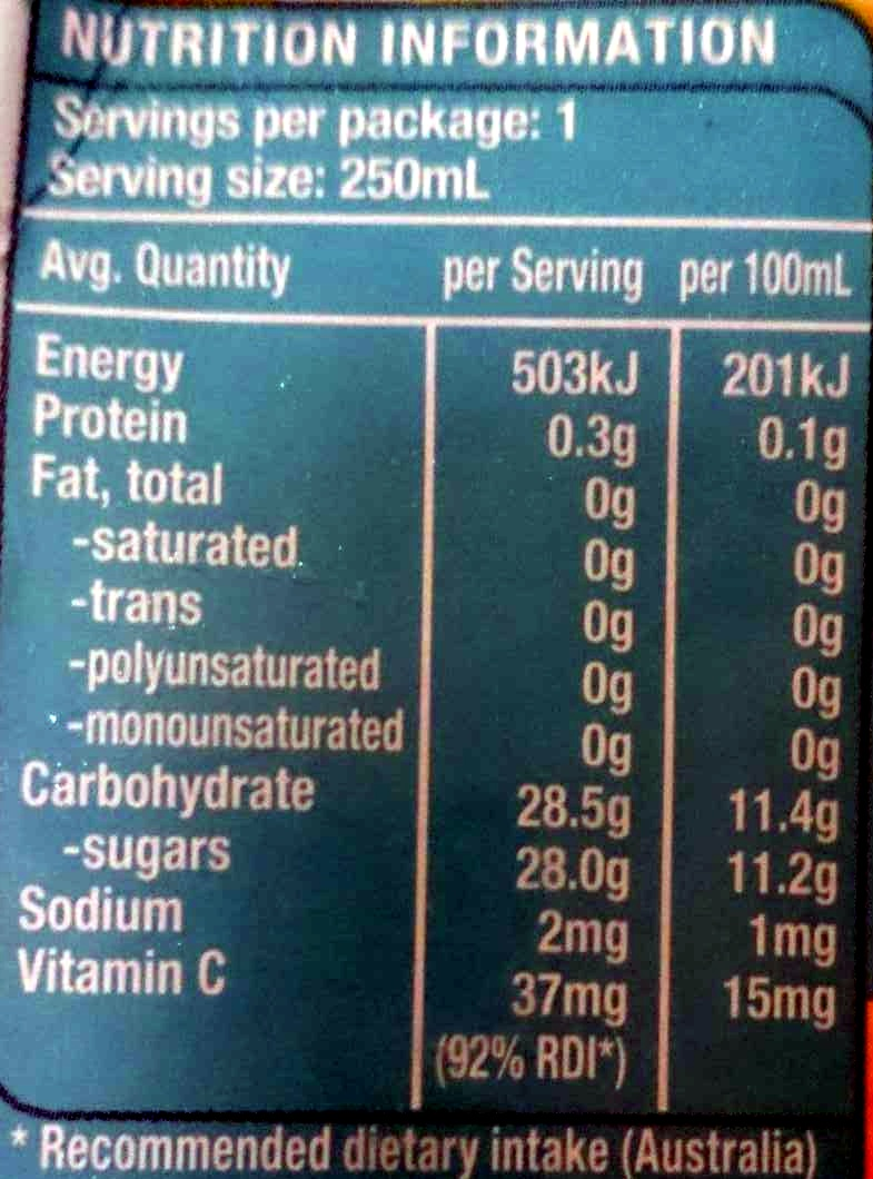 Sunshine Punch Fruit Drink with Vitamin C - Nutrition facts - en