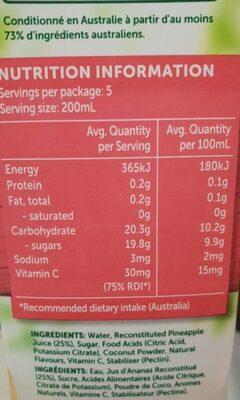 Golden Circle Pine Coconut - 1L - Nutrition facts - en