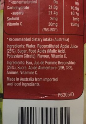 Golden Circle DRK Apple - Ingredients - fr