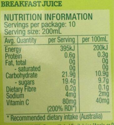 Breakfast juice - Nutrition facts - en