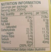 Apple juice serve chilled - Nutrition facts