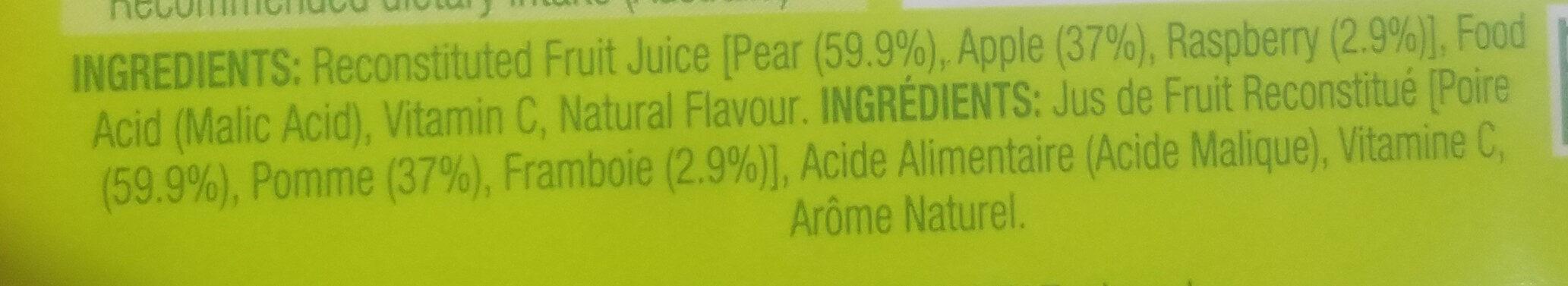 Pear Apple & Raspberry - Ingredients - en
