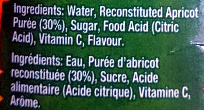 Apricot Nectar - Ingredients