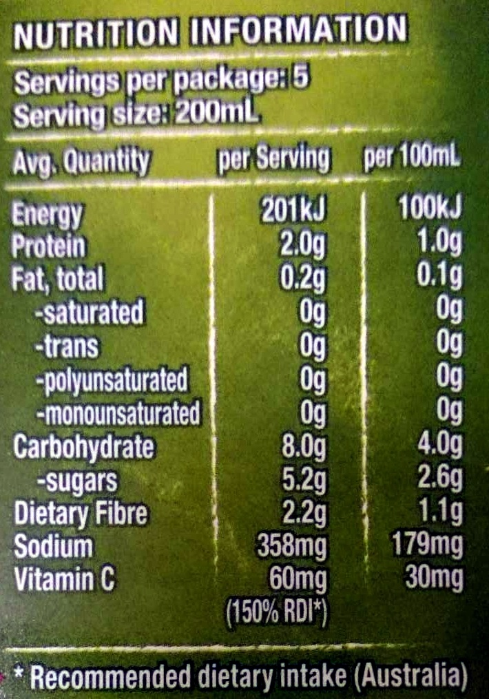 Tomato Juice - Nutrition facts - en