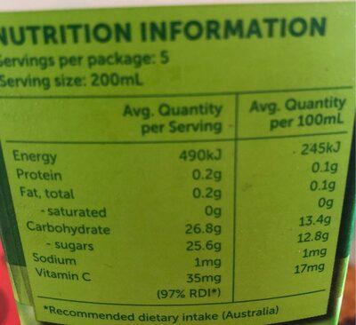 Pear nectar - Nutrition facts - fr