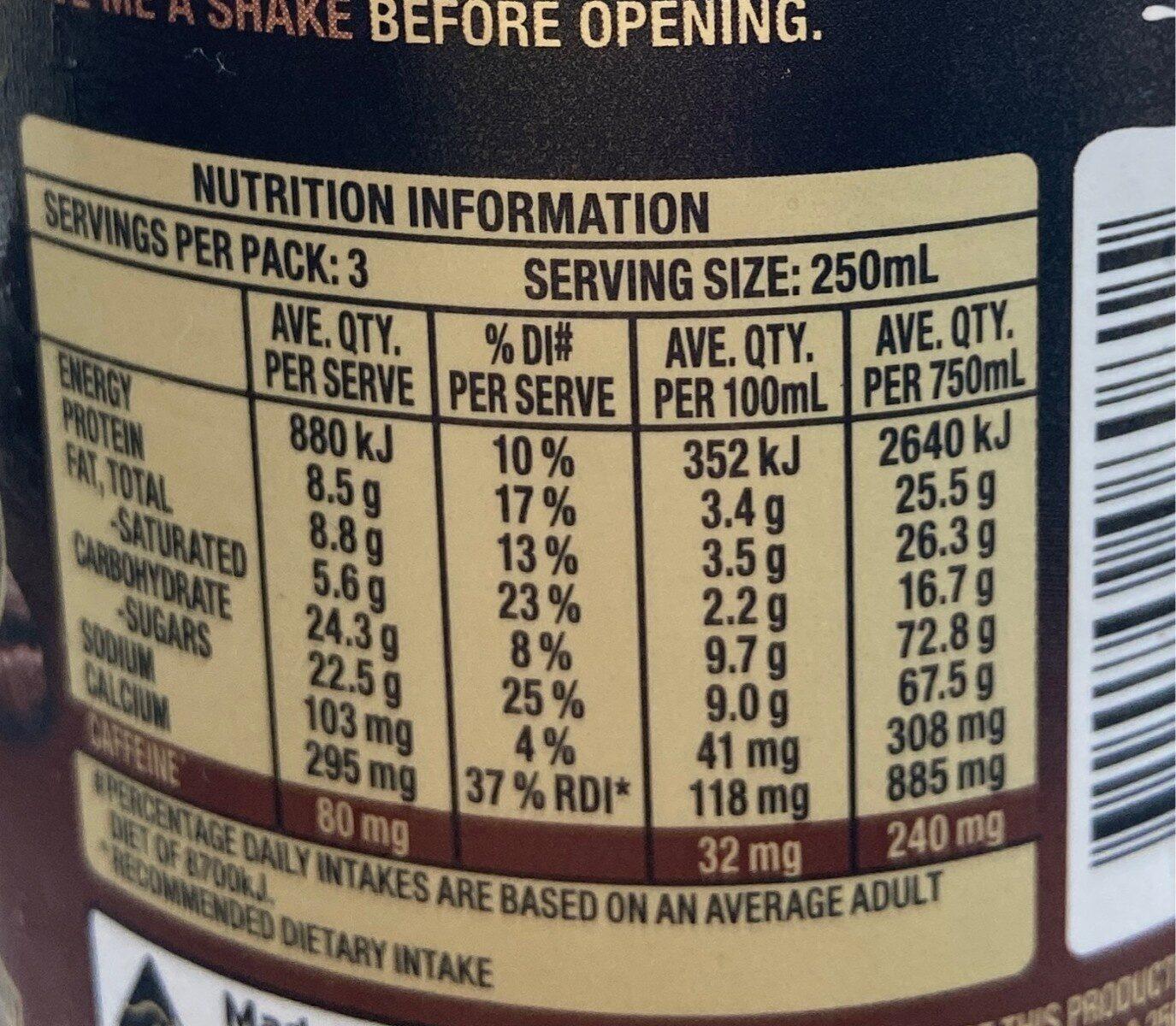 Dare double expresso - Nutrition facts - en