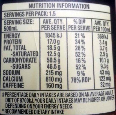 Dare Double Espresso - Nutrition facts