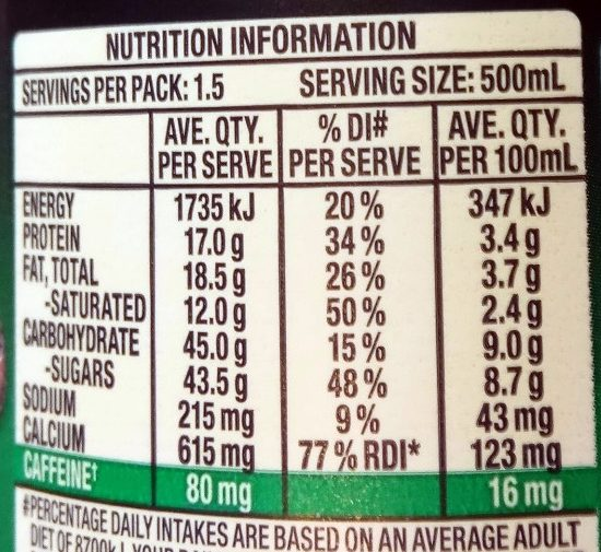 Dare iced coffee Espresso - Nutrition facts
