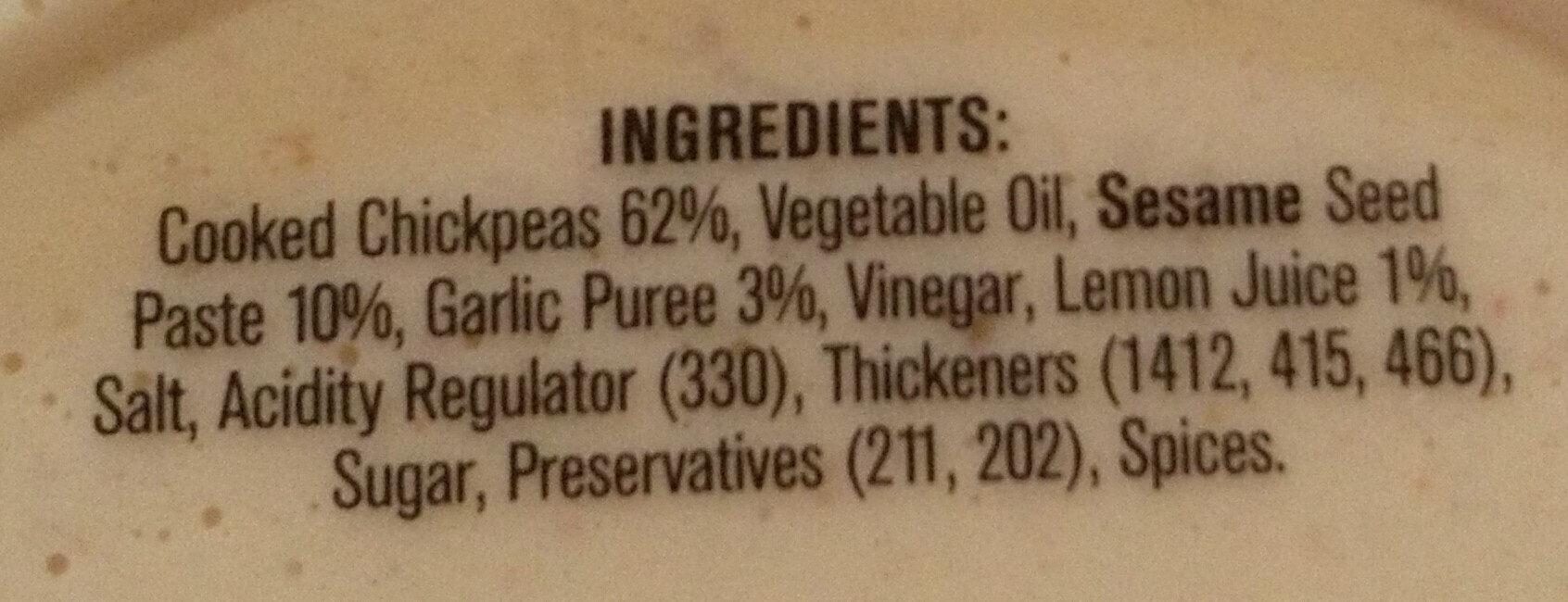 Black Swan Hommus Dip - Ingredients - en