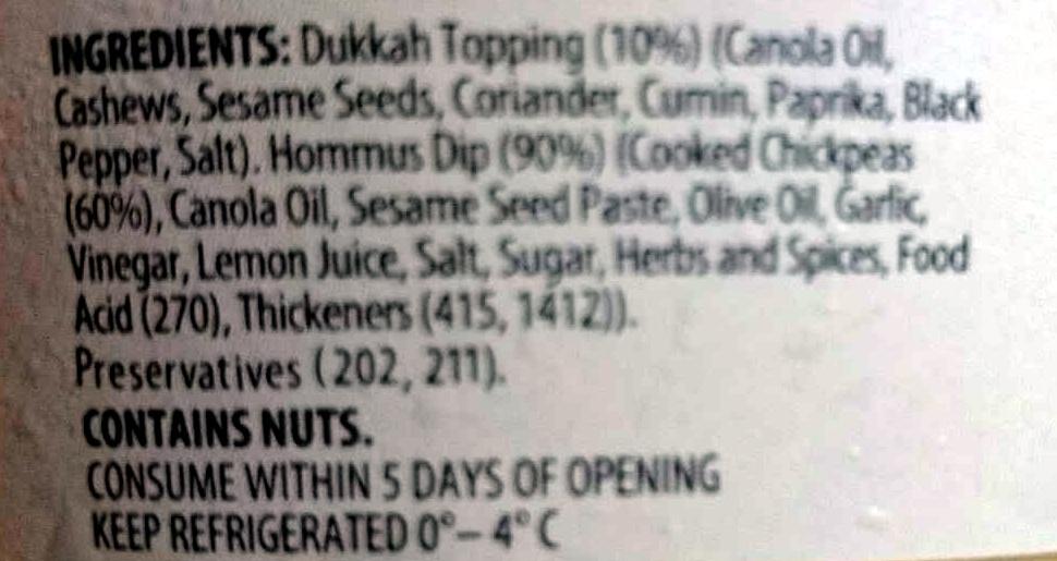 Hommus with Egyptian Spiced Dukkah Blend Dip - Ingredients - en