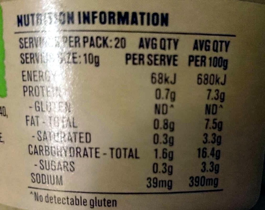 Spiced French Lentils Deli Dip - Nutrition facts - en