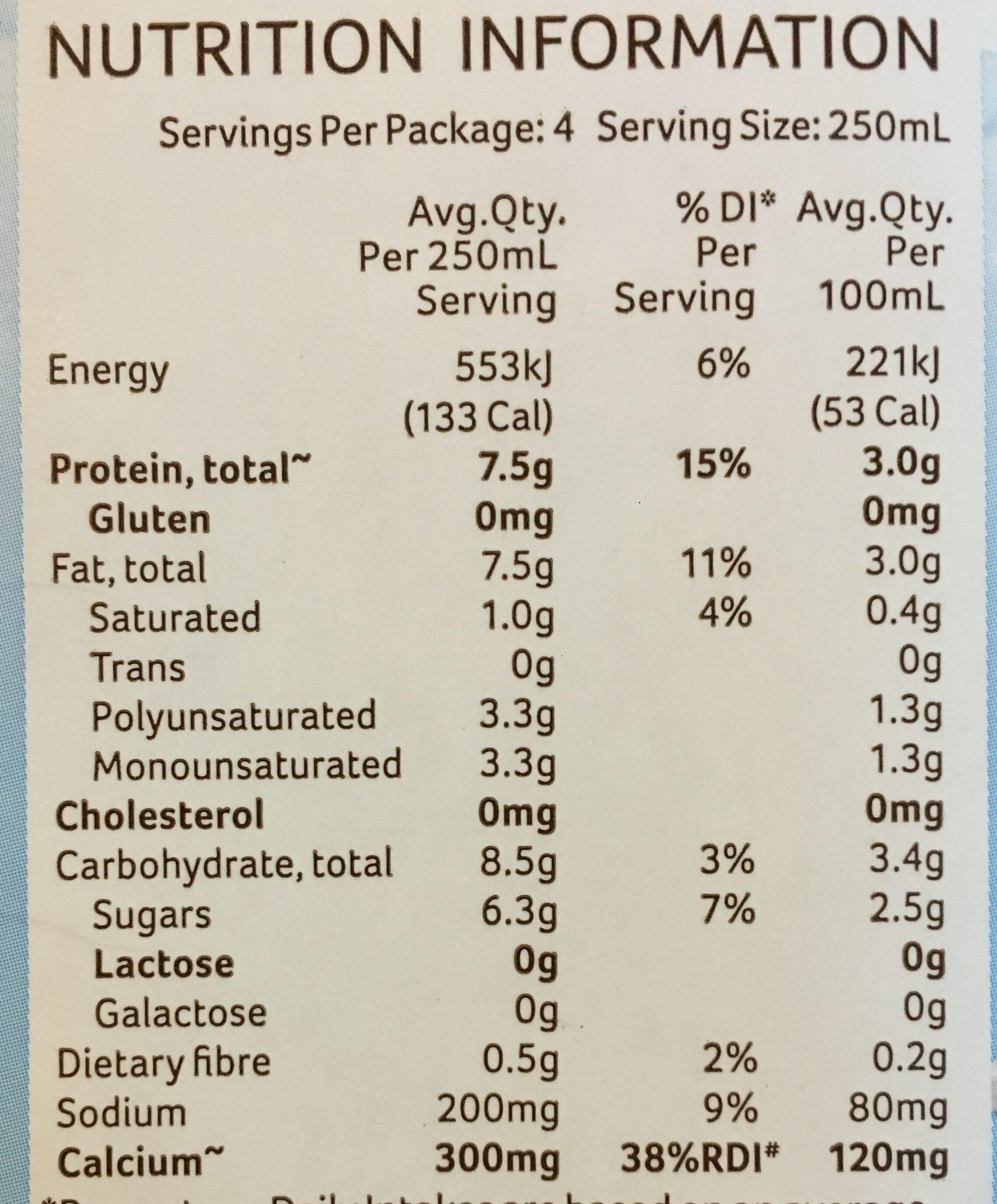 Soy Milky Regular - Nutrition facts - en