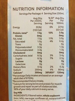 Soy Milky Regular - Nutrition facts
