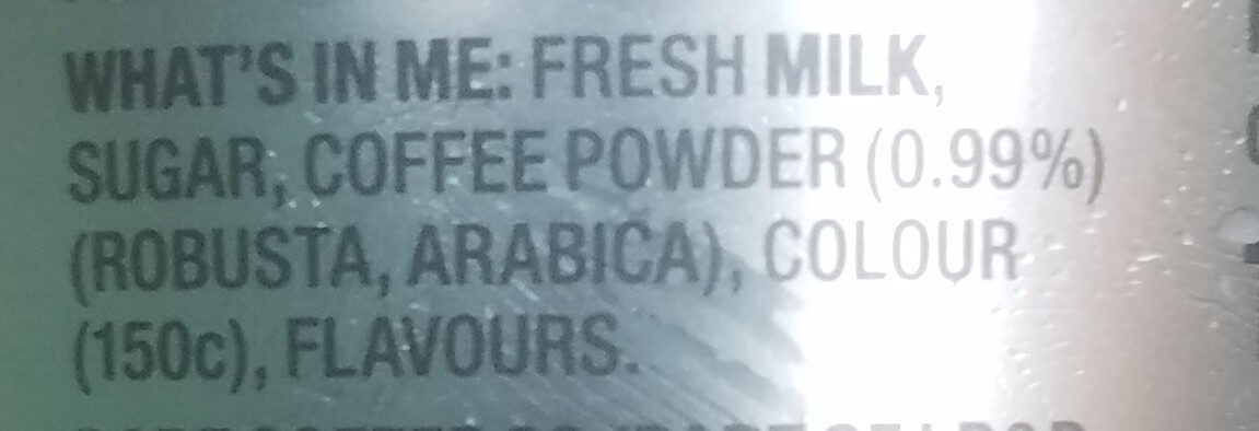 Iced  Coffee - triple espresso - Ingredients