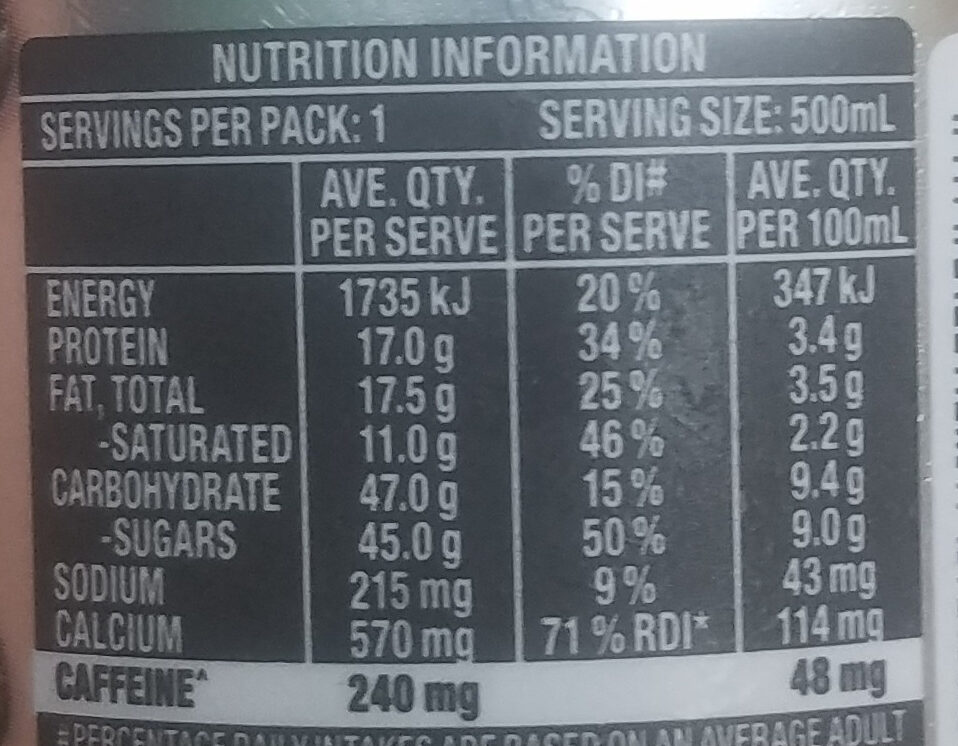 Iced  Coffee - triple espresso - Nutrition facts