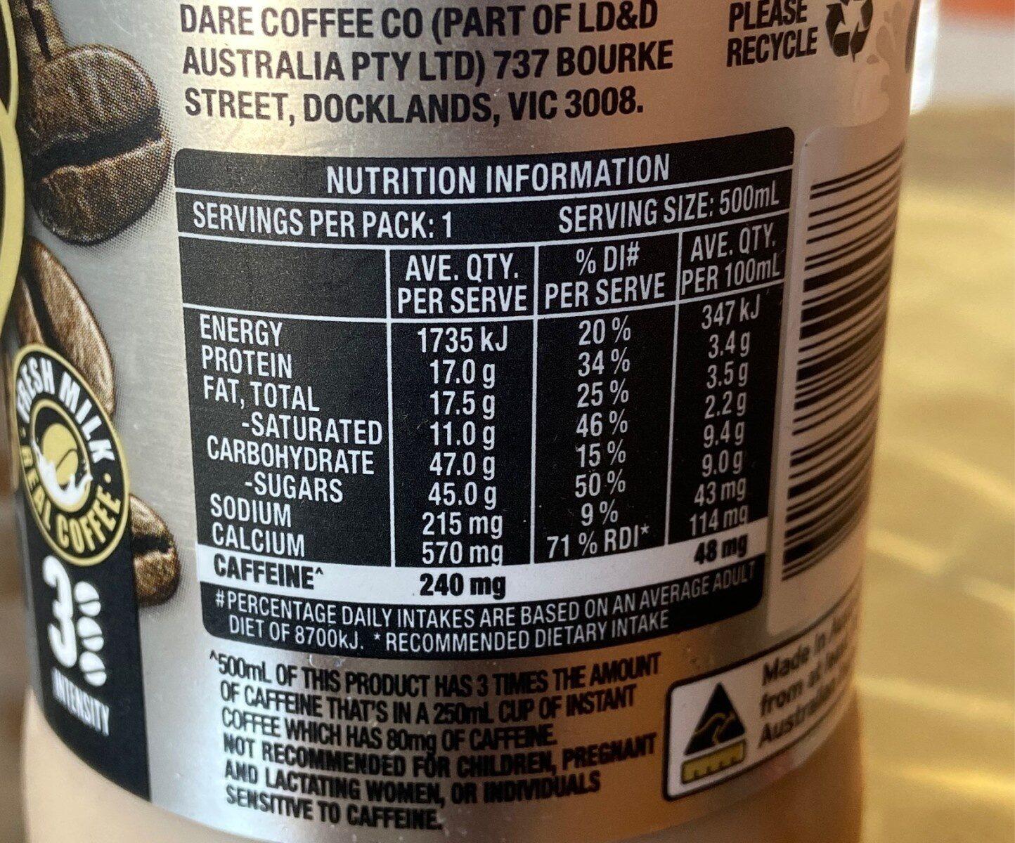 Iced  Coffee - triple espresso - Nutrition facts - en