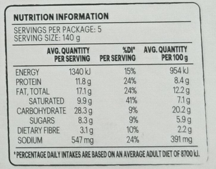 Quiche - Spinach, Semi Dried Tomato & Leek - Nutrition facts - en