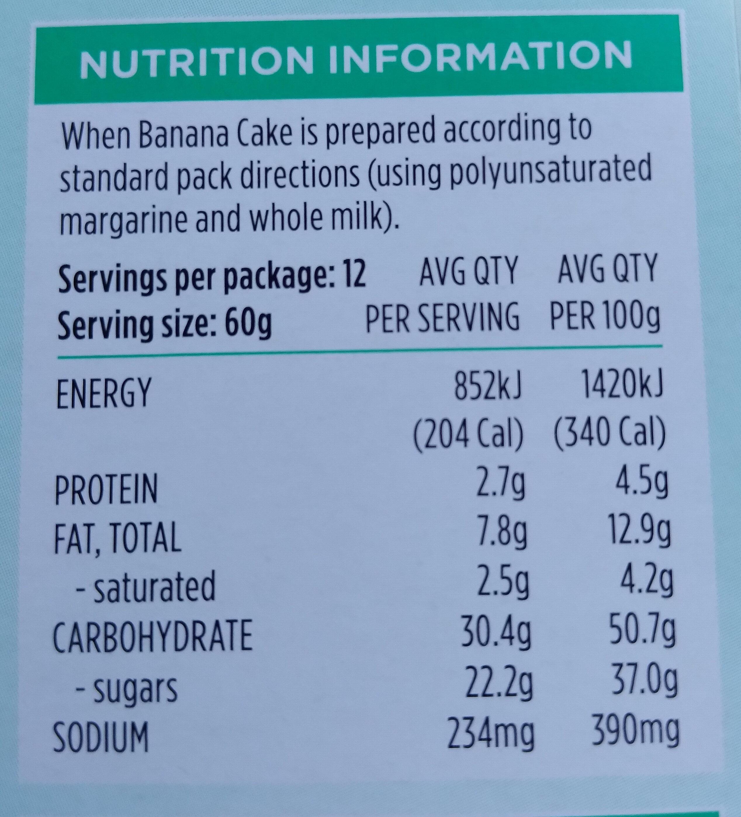 Devine Banana Cake - Nutrition facts - en