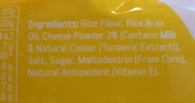 Peckish Thins Rice Cracker Cheddar Cheese 100g Gluten Free - Ingredients - en