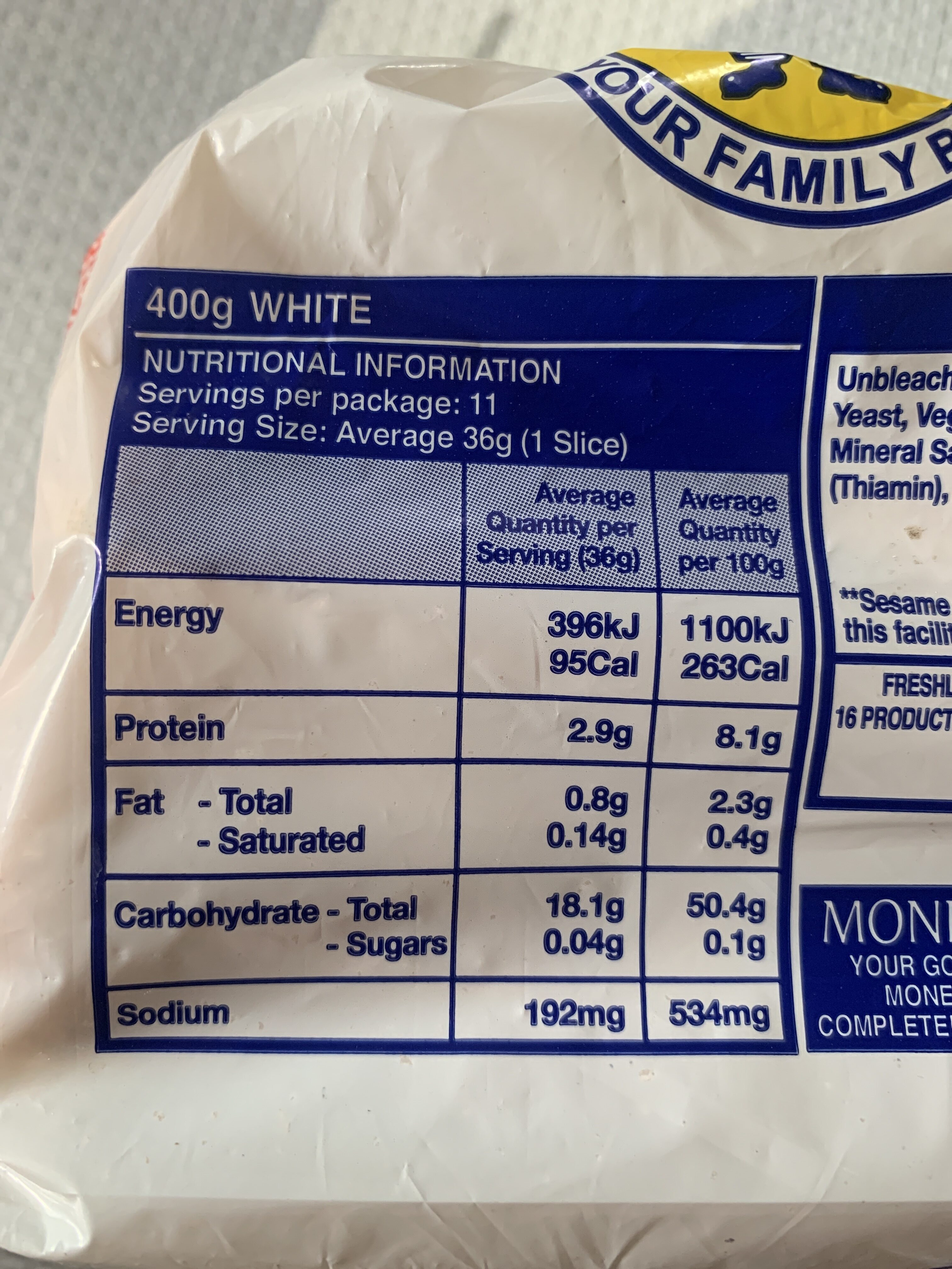 your family baker - Nutrition facts - en
